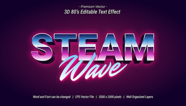 3d steam wave editable text effect