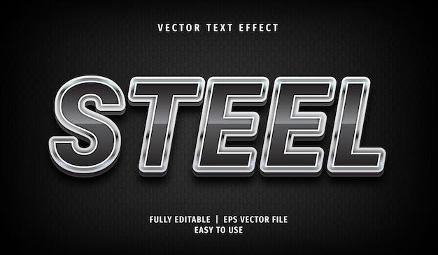 Эффект 3d стального текста, стиль редактируемого текста