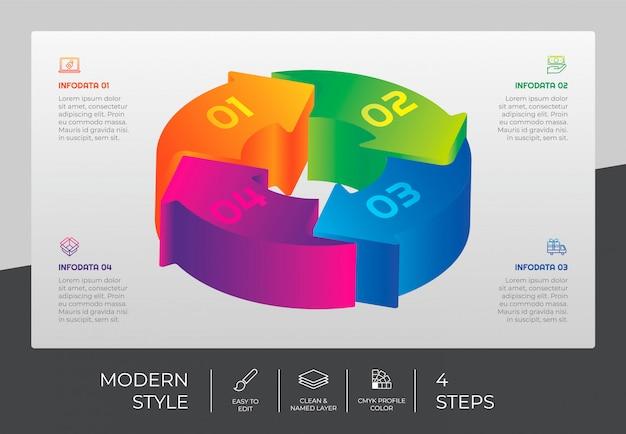 3d шаг инфографики дизайн с 4 шагами и красочным стилем для презентации.