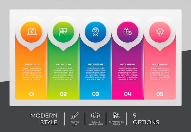 5つのオプションとプレゼンテーション目的のためのカラフルなスタイルの3 dステップインフォグラフィックデザイン。モダンなステップインフォグラフィック