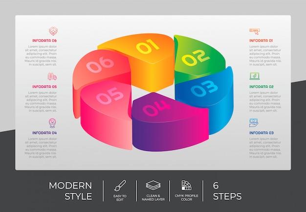 3d шаг инфографики дизайн с 6 шагов и красочный стиль для презентации цели. круг вариант инфографики
