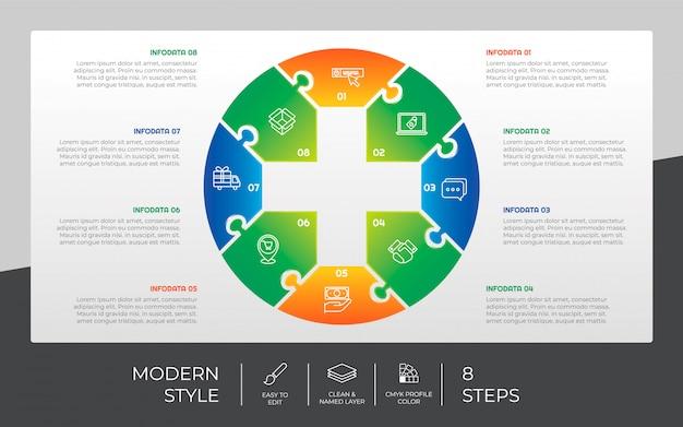 プレゼンテーション目的のための8つのステップとグラデーションスタイルの3 dステップインフォグラフィックデザイン。メディックステップインフォグラフィック