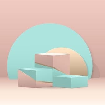 3dステップキューブ表彰台構成。抽象的な幾何学的な最小限の背景。スペースのあるブルー、グリーン、ゴールドのパステルカラー。