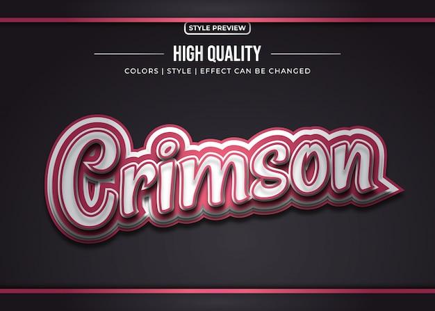 빨간색과 금속 그라디언트 효과와 3d 스티커 텍스트 스타일