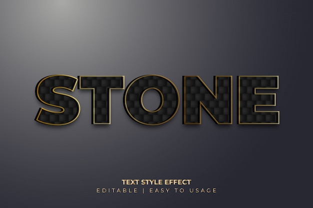 3d stone texture text style effect with golden edges