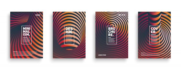 3d striped different cover templates set