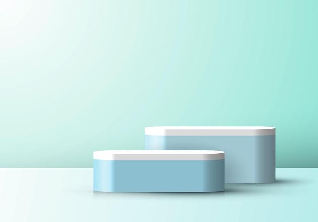 3d студийная комната отображает геометрический синий пьедестал на фоне минимальной сцены зеленой мяты. вы можете использовать для косметических продуктов, витрины и т. д. векторные иллюстрации