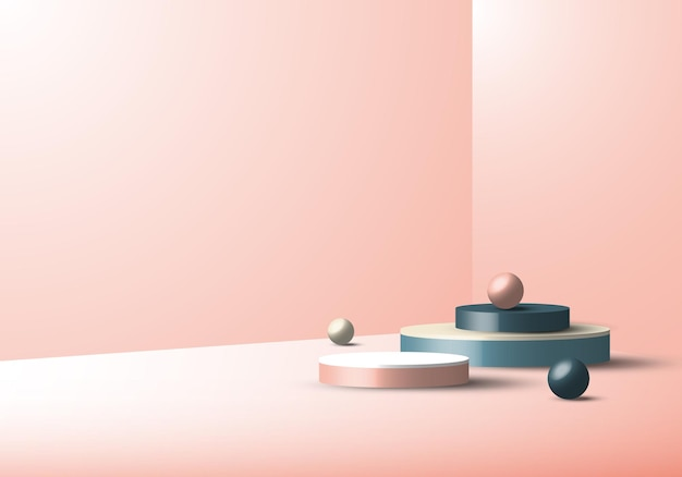 3d studio room display geometric cylinder minimal pink background