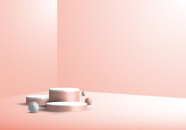 3d studio room showcase display geometric beige cylinder pedestal, round minimal pink scene background. you can use for cosmetic products, etc. vector illustration