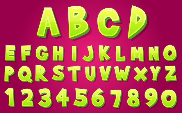 3d style alphabet and number set