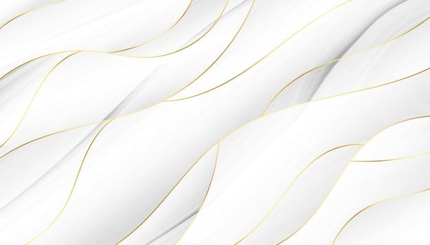 흰색과 황금 물결 모양의 배경을 흐르는 3d 스타일