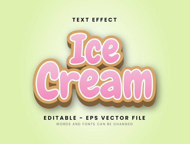 3d style ice cream text effect