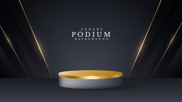 3d style podium golden luxury on abstract background, vector illustration for promoting sales and marketing.