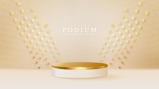 3d style podium golden luxury on star shape background, vector illustration for promoting sales and marketing.