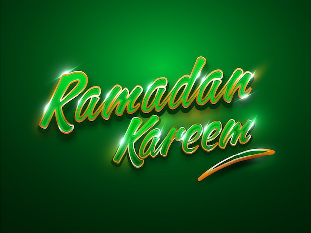 3d style ramadan kareem text with lights effect on green background