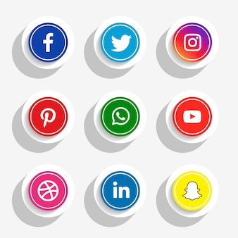 3d style social media icons set