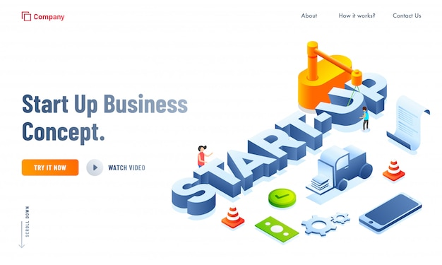3d style text of start up business