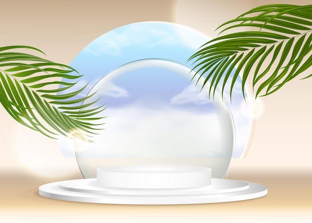 푸른 하늘 구름 여름 배경으로 3d 여름 배경 제품 디스플레이 플랫폼 장면