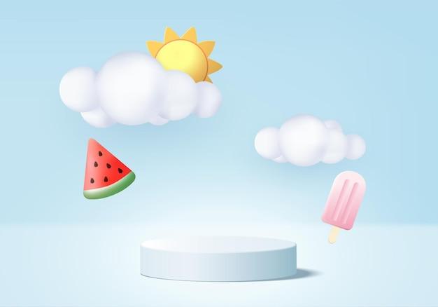 クラウドプラットフォームの背景を持つ3d夏の背景製品ディスプレイ表彰台シーン表彰台スタンドショー化粧品製品ディスプレイ青いスタジオで太陽アイスクリームスイカと夏の3dレンダリング