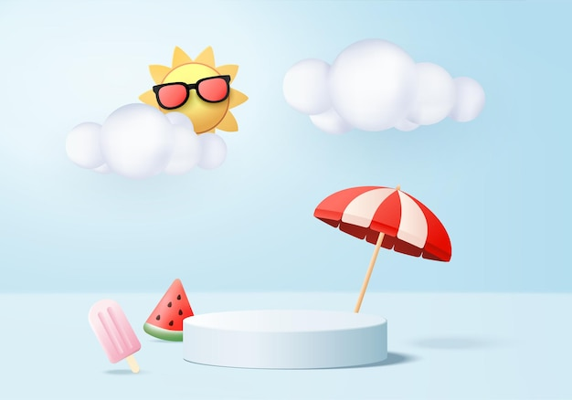 3d summer background product display podium scene with cloud platform background summer 3d render with sun ice cream watermelon on podium stand show cosmetic product display blue studio