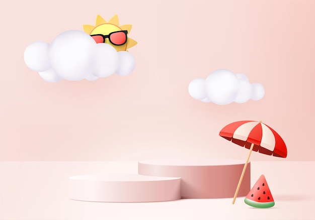 3d summer background product display podium scene with cloud platform background summer 3d render with sun watermelon on pink podium stand show cosmetic product display pink studio Premium Vector