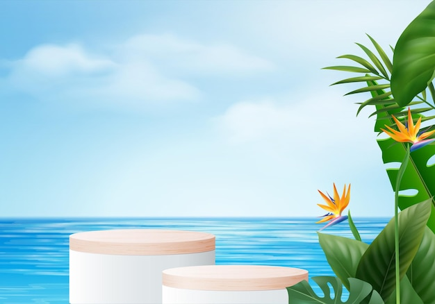 3d summer background product display scene with leaf.  wood podium display on in sea with cloud