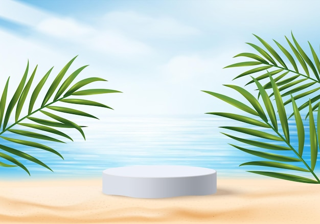 3d summer background product display scene with leaves.  white podium display on beach in sea