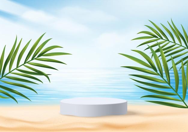 葉のある3d夏の背景製品の表示シーン。海のビーチに白い表彰台のディスプレイ