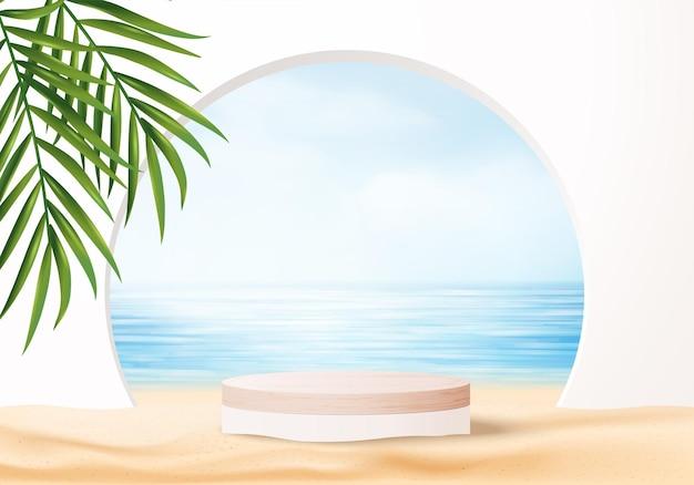葉のある3d夏の背景製品の表示シーン。海の青い空の雲の木製の表彰台のディスプレイ