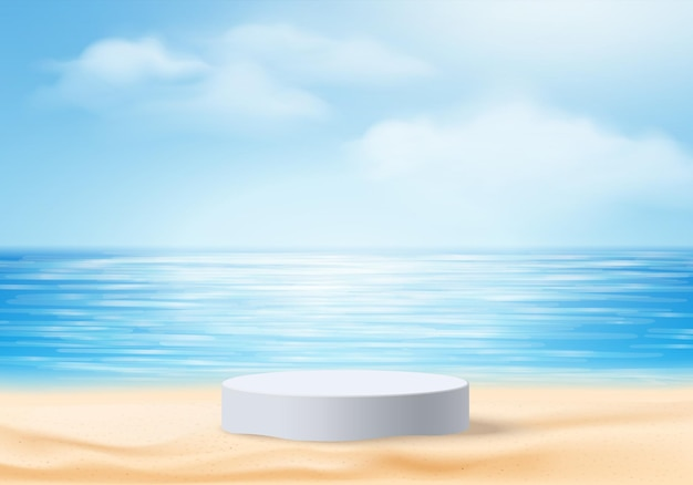 3d summer background product display scene with sky cloud.  white podium display on beach in sea