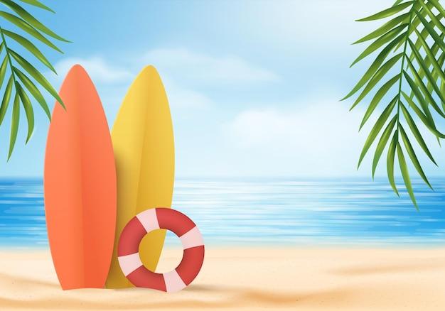 サーフボードと3d夏の背景製品の表示シーン。海のディスプレイ上の空の雲の背景