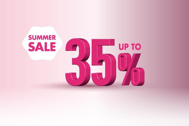 35 %의 3d 여름 판매 배너 할인
