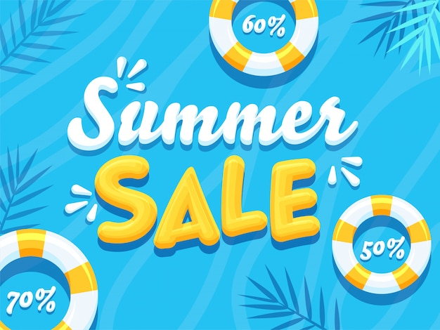 3d summer sale text with different discount offers and swimming rings on blue background.
