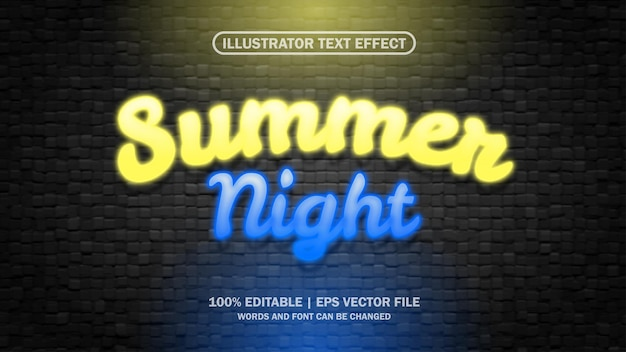 3d summer text effect editable eps file