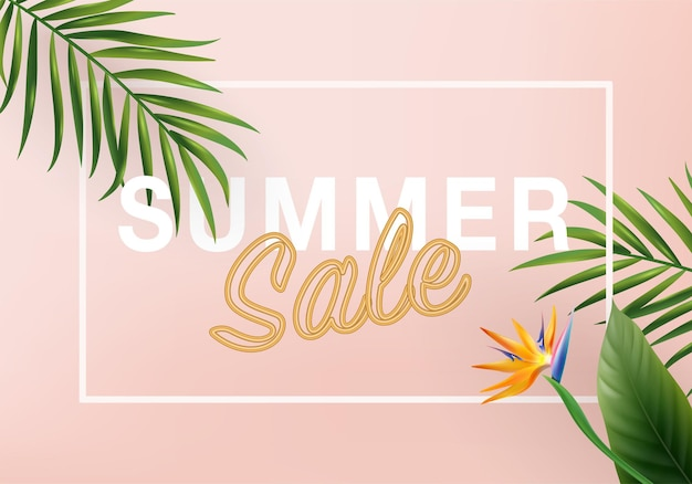 3d summer tropical sale background top view on palm leaves