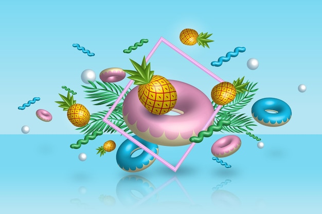 3d summertime pineapple and floaties