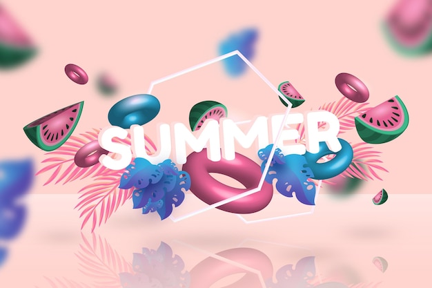 3d summertime watermelon and floaties