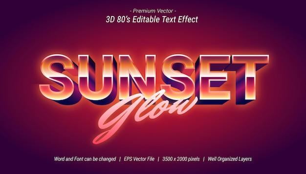 3d sunset glow editable text effect