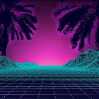 3d закат на пляже ретро пальмы вектор научно фантастический фон