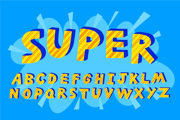 3d super comic letters alphabet