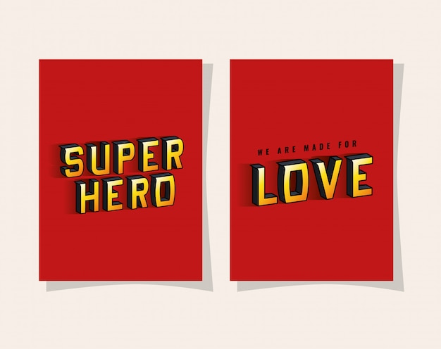 빨간색 배경에 3d 슈퍼 영웅과 사랑 글자