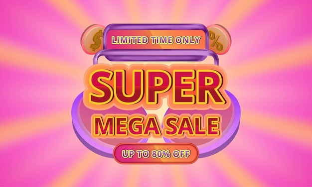 Шаблон рекламного баннера 3d super mega sale с редактируемым текстом на фоне солнечных лучей