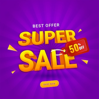 3d super sale text with 50% discount tag on purple rays background for advertising concept