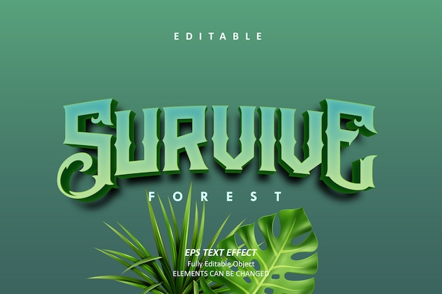 3d survive forest text effect