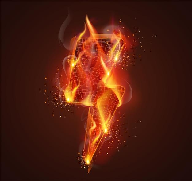 濃い赤の背景に煙と火花で火の 3 d シンボル
