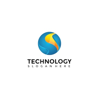 3d technology logo template