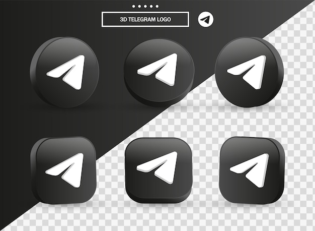 3d telegram logo icon in modern black circle and square for social media icons logos