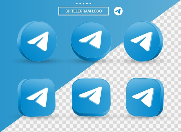 3d telegram logo in modern style circle and square for social media icons logos