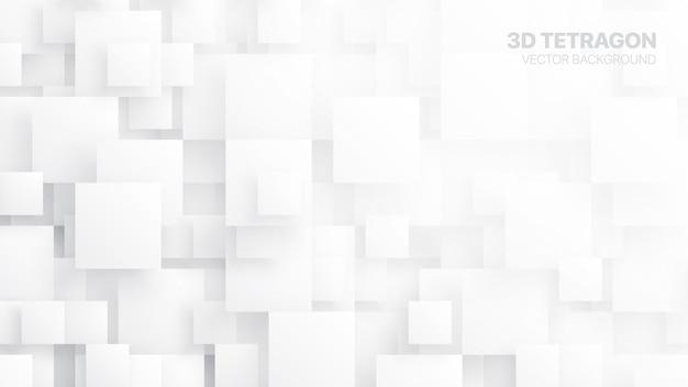 3d tetragons conceptual abstract white background