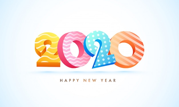 3d text of 2020 in different abstract pattern on white  for happy new year celebration.